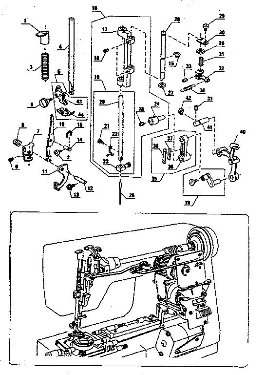 PRESSER BAR ASSEMBLY Diagram & Parts List for Model