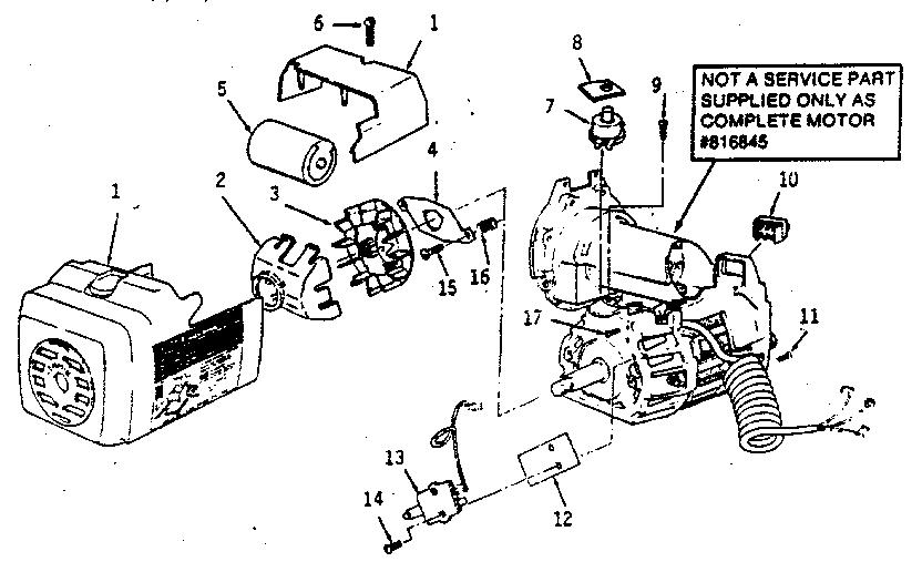 MOTOR 816845 Diagram & Parts List for Model 113198611