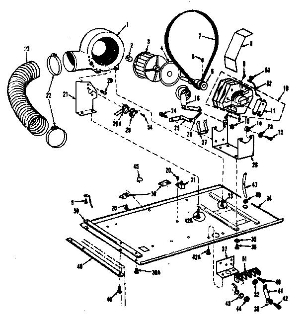 DRYER MOTOR, BLOWER, BELT Diagram & Parts List for Model