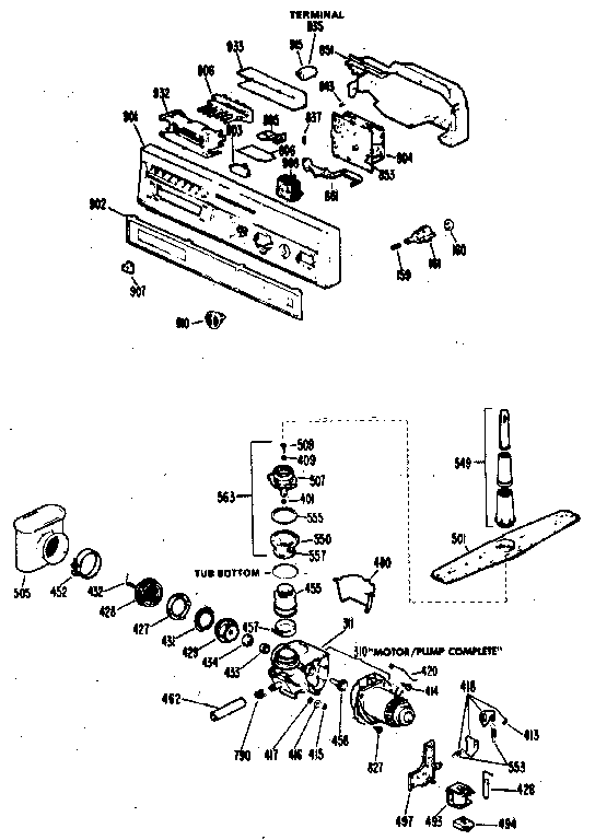 CONTROL PANEL AND MOTOR-PUMP ASSEMBLY Diagram & Parts List