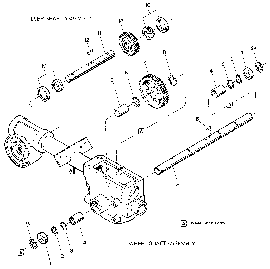 WHEEL SHAFT & TILLER SHAFT ASSEMBLIES Diagram & Parts List
