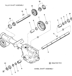 troybilt junior serial m74690 and up wheel shaft tiller shaft assemblies diagram [ 1024 x 1020 Pixel ]