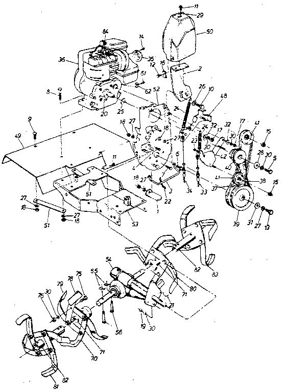 TINE SHIELD AND ENGINE ASSEMBLY Diagram & Parts List for