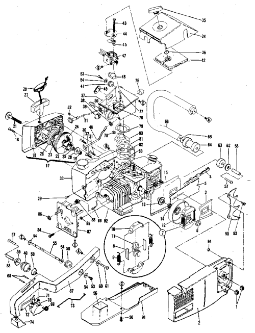 small resolution of mcculloch pro mac 610 model 13600041 29 general assembly diagram