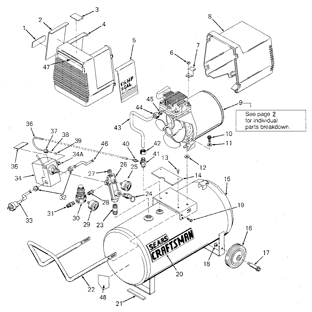 CRAFTSMAN Oilless air compressor Compressor pump diagram