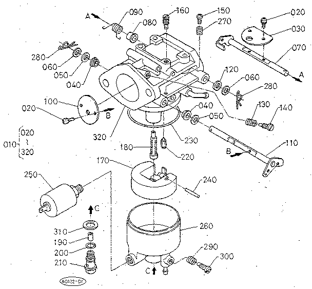 CARBURETOR (SECTION PARTS) Diagram & Parts List for Model