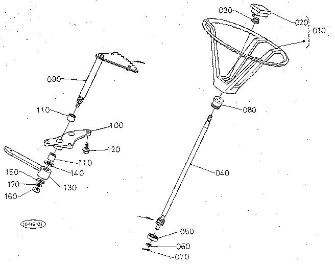 STEERING Diagram & Parts List for Model T1400H Kubota