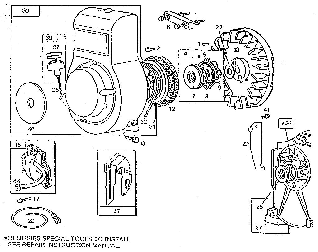 REWIND STARTER AND MAGNETO Diagram & Parts List for Model