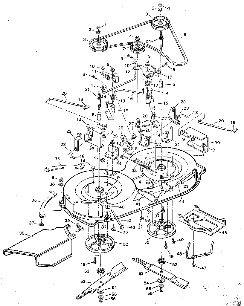 MOWER HOUSING Diagram & Parts List for Model 938600 Murray