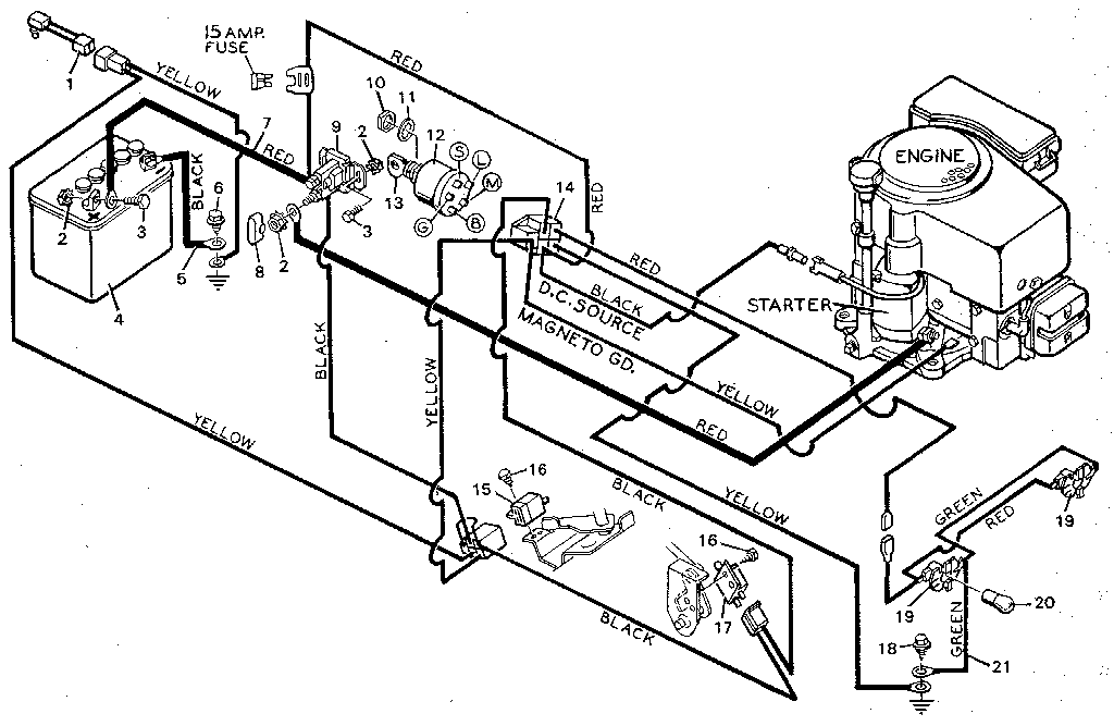 WIRING Diagram & Parts List for Model 938600 Murray-Parts