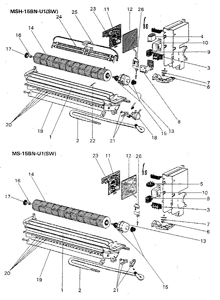 INDOOR UNIT Diagram & Parts List for Model msh15bn