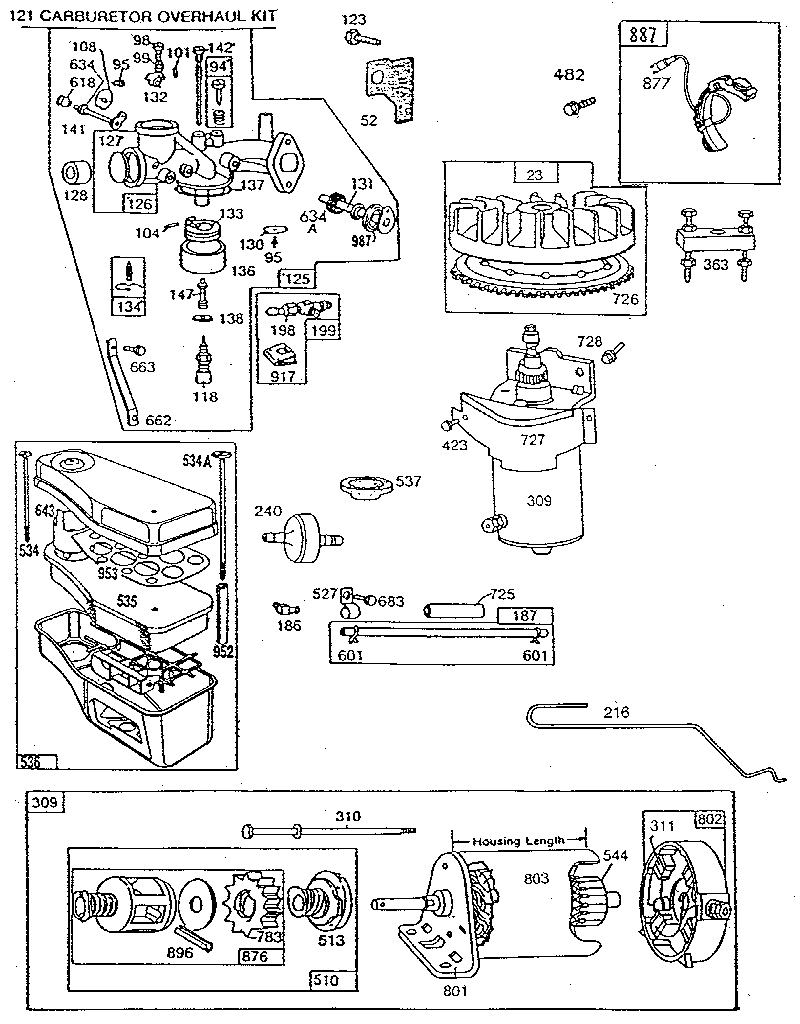 ENGINE 8 HP. Diagram & Parts List for Model 191707601501