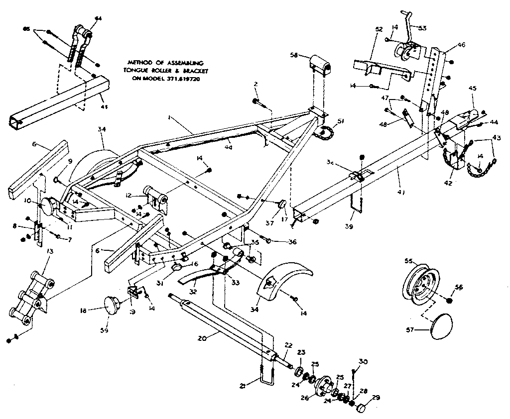 hight resolution of sears 371619680 tongue roller and bracket assembly diagram