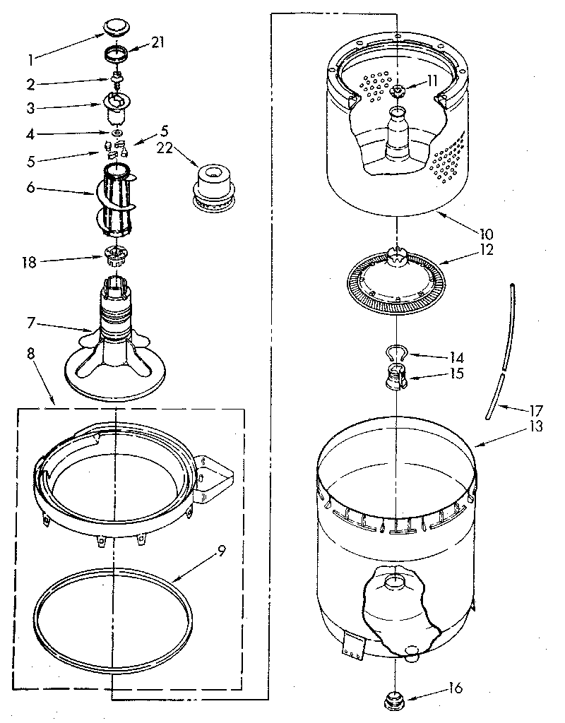 AGITATOR, BASKET AND TUB Diagram & Parts List for Model