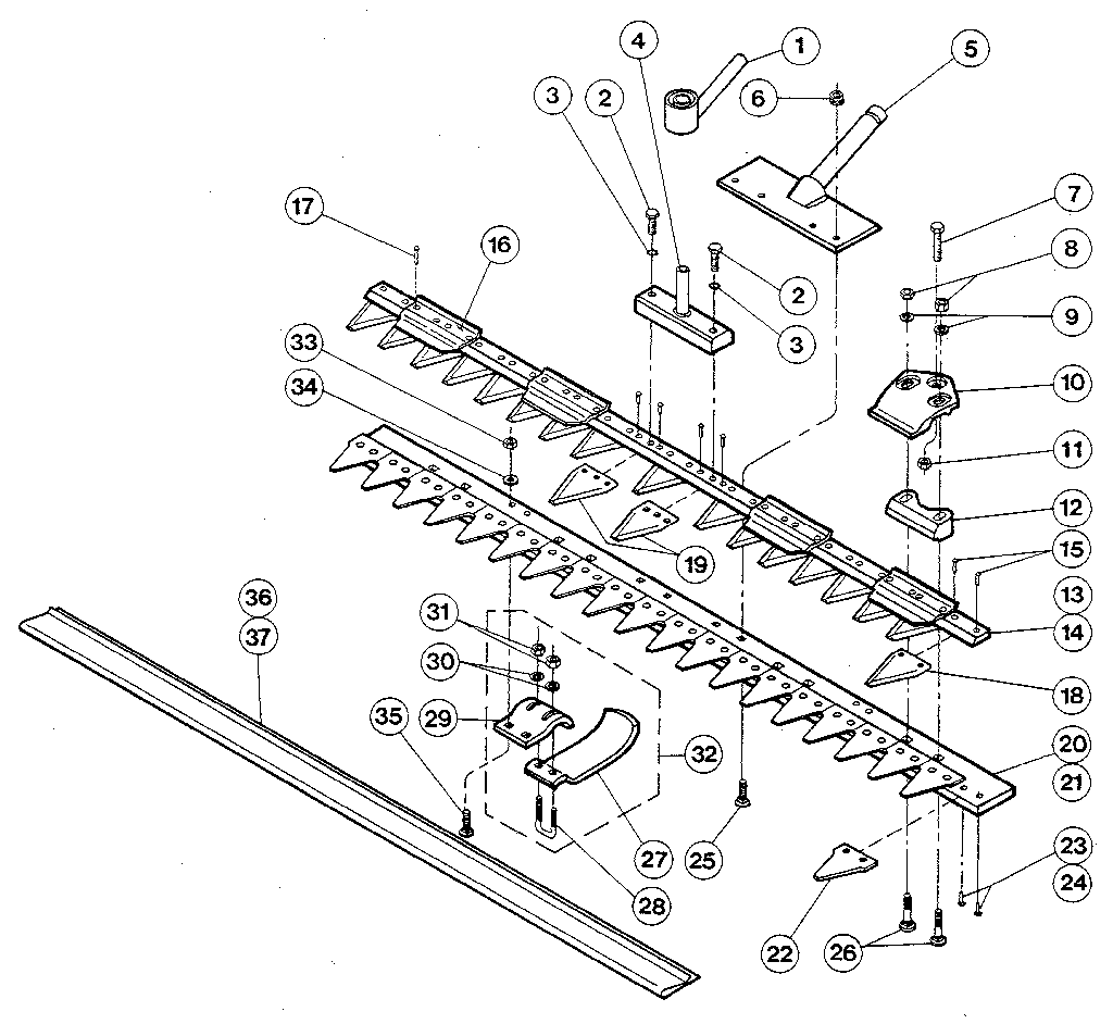 CUTTER BAR ASSEMBLY Diagram & Parts List for Model