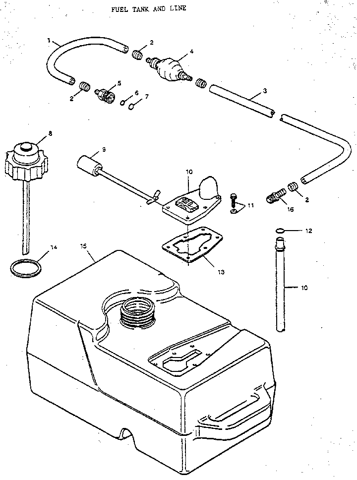 FUEL TANK AND LINE Diagram & Parts List for Model