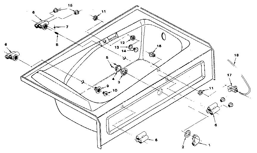 UNIVERSAL RUNDLE SCULPTURA II WHIRLPOOL BATHTUB Parts