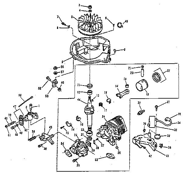 ENGINE GROUP Diagram & Parts List for Model 680540 Lawnboy