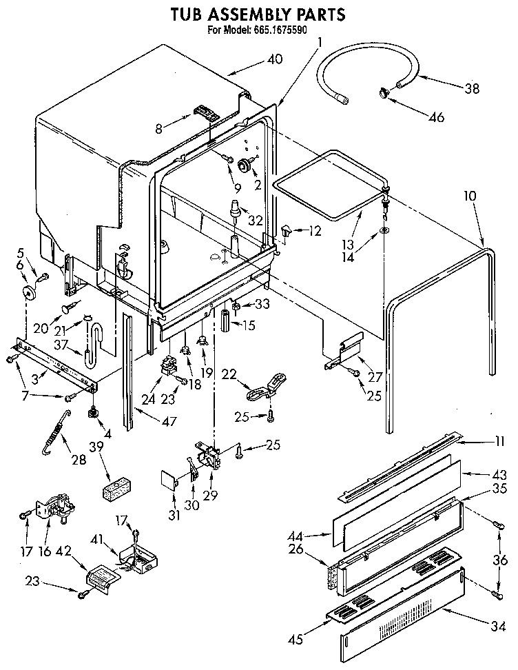 TUB ASSEMBLY Diagram & Parts List for Model 6651675590