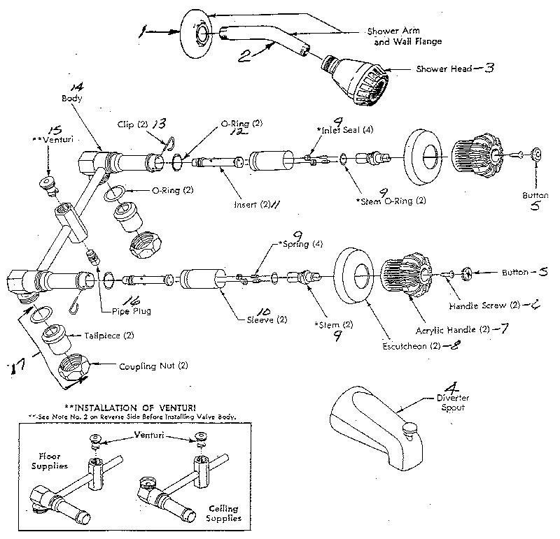 aquasource shower faucet parts diagram