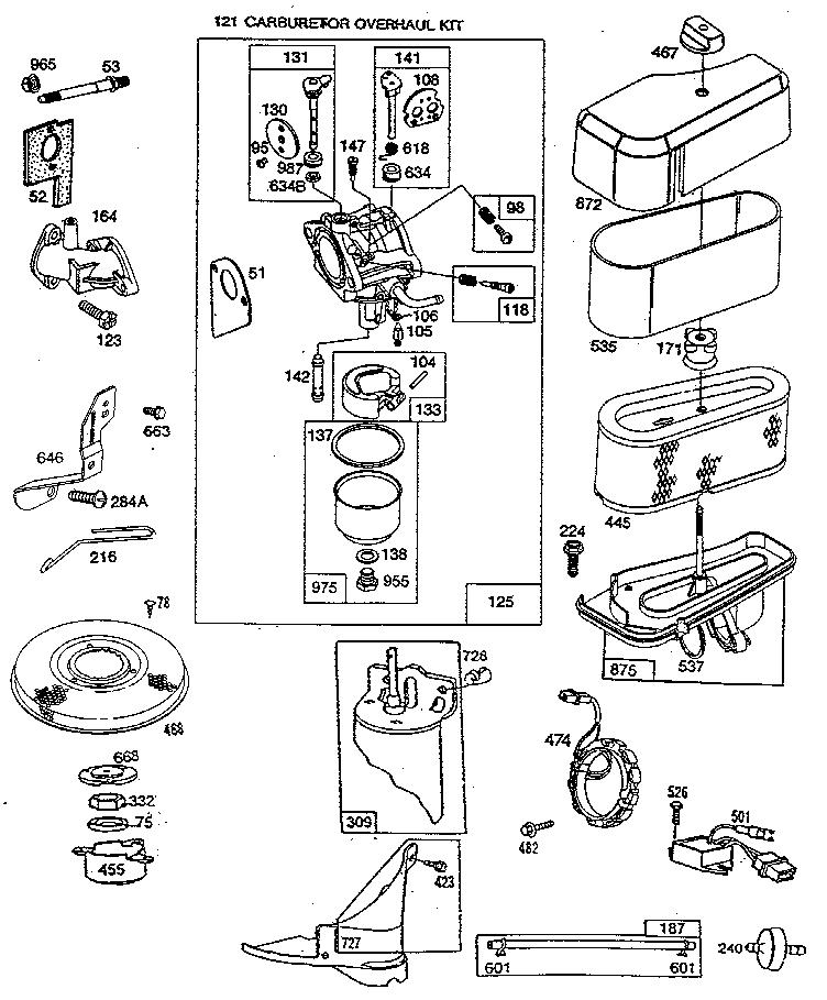 BRIGGS & STRATTON Engine Carburetor And Air Cleane Parts Model