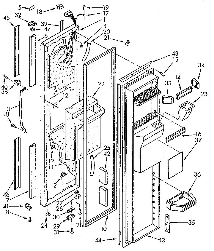 FREEZER DOOR Diagram & Parts List for Model 1069515710