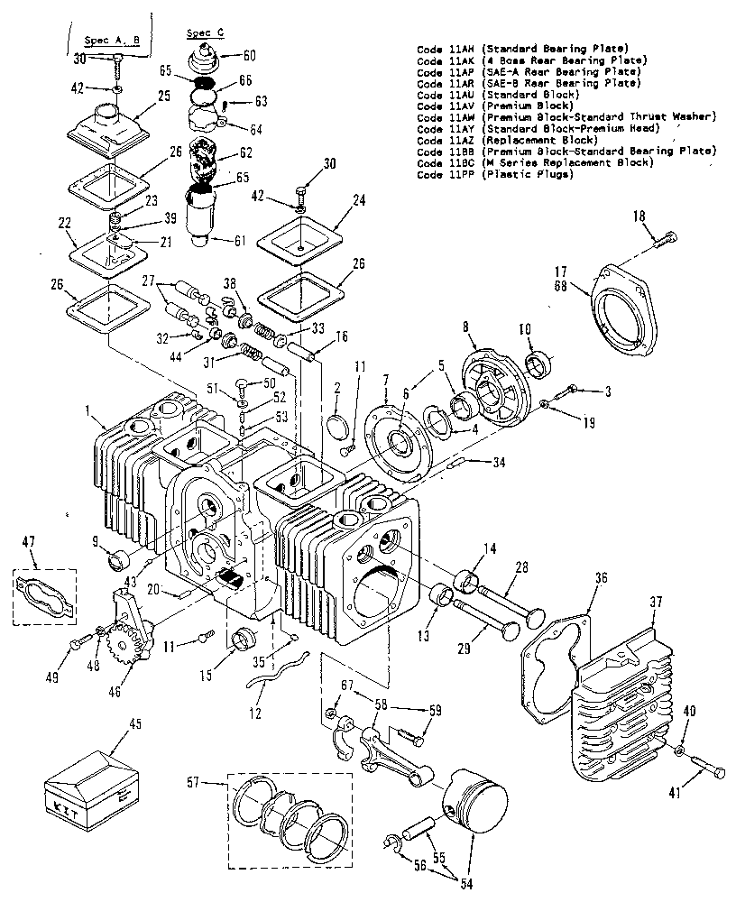 CYLINDER BLOCK Diagram & Parts List for Model 110342402
