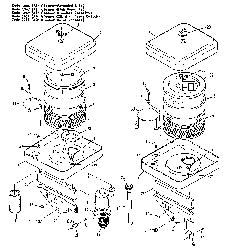 AIR CLEANER Diagram & Parts List for Model 110342402 Onan