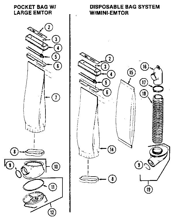 BAG & EMTOR Diagram & Parts List for Model 2HD Kirby-Parts