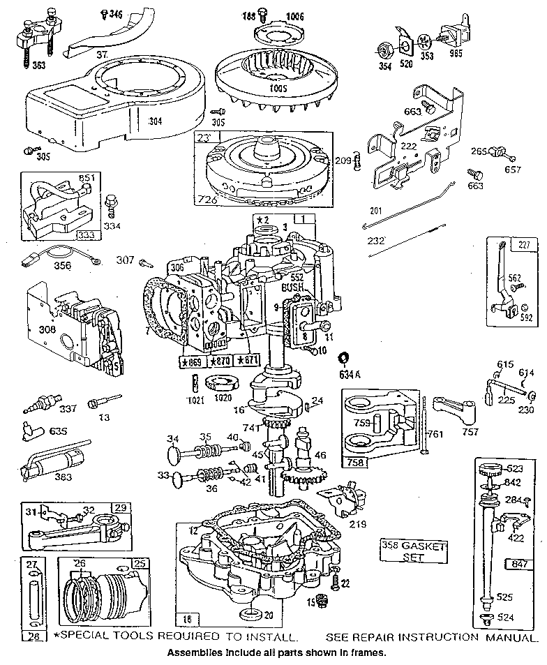 Engine Internal Parts Diagram And Parts List For Briggs