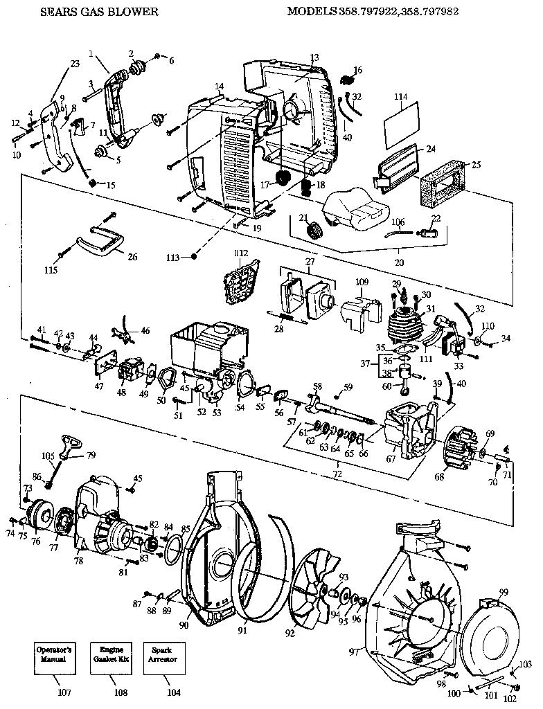 hight resolution of craftsman 358797922 sears gas blower diagram