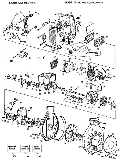 small resolution of craftsman 358797922 sears gas blower diagram
