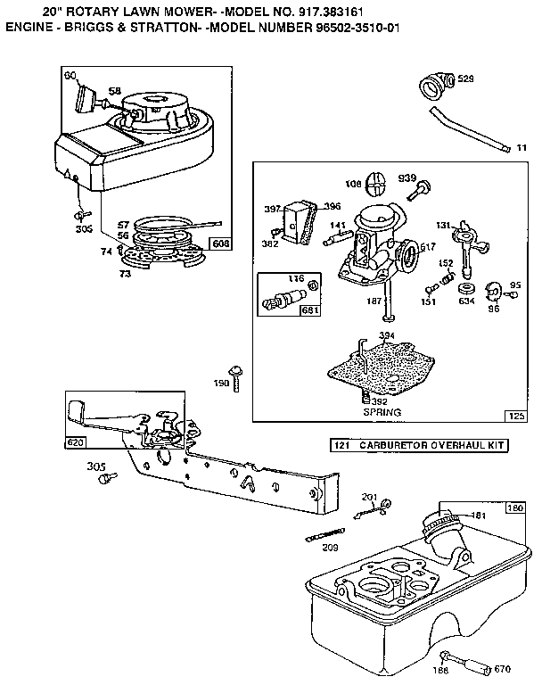 CARBURETOR Diagram & Parts List for Model 917383161