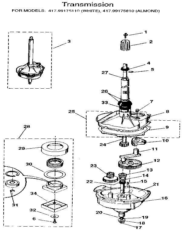 TRANSMISSION Diagram & Parts List for Model 41799175810