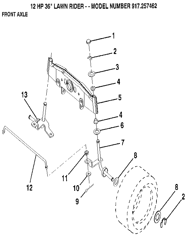 FRONT AXLE Diagram & Parts List for Model 917257462