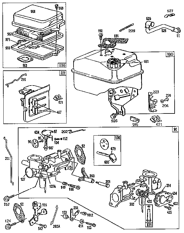 AIR CLEANER, FUEL TANK, AND CARBURETOR ASSEMBLY Diagram
