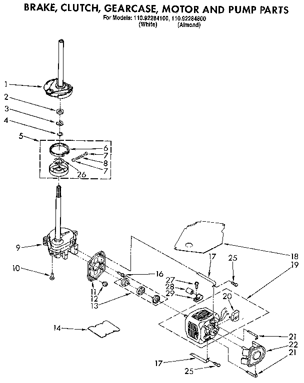 BRAKE, CLUTCH, GEARCASE, MOTOR AND PUMP Diagram & Parts