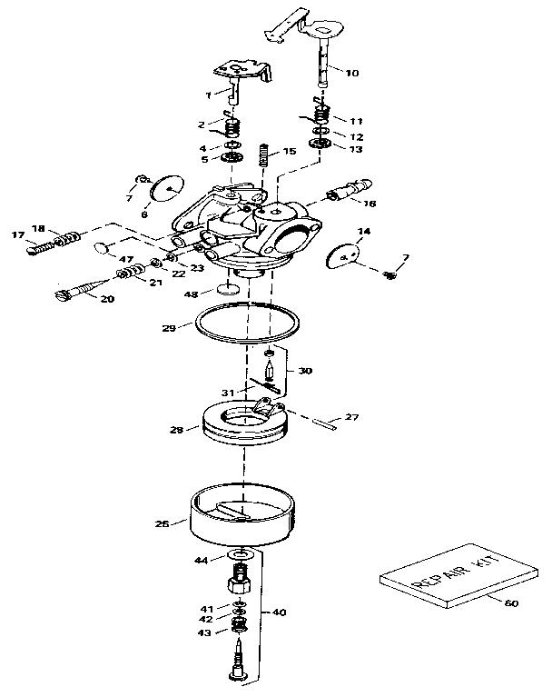 CARBURETOR Diagram & Parts List for Model hm100159223k