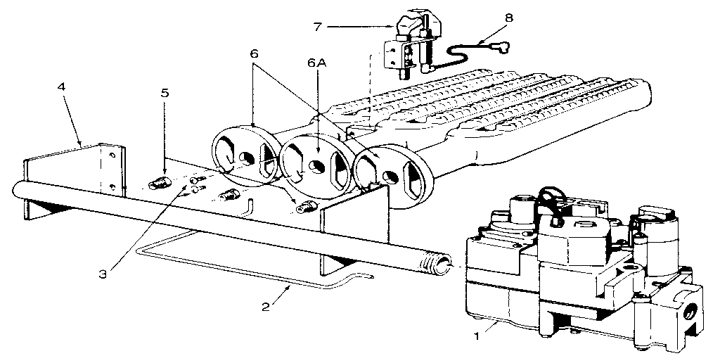 GAS BURNERS AND MANIFOLD Diagram & Parts List for Model