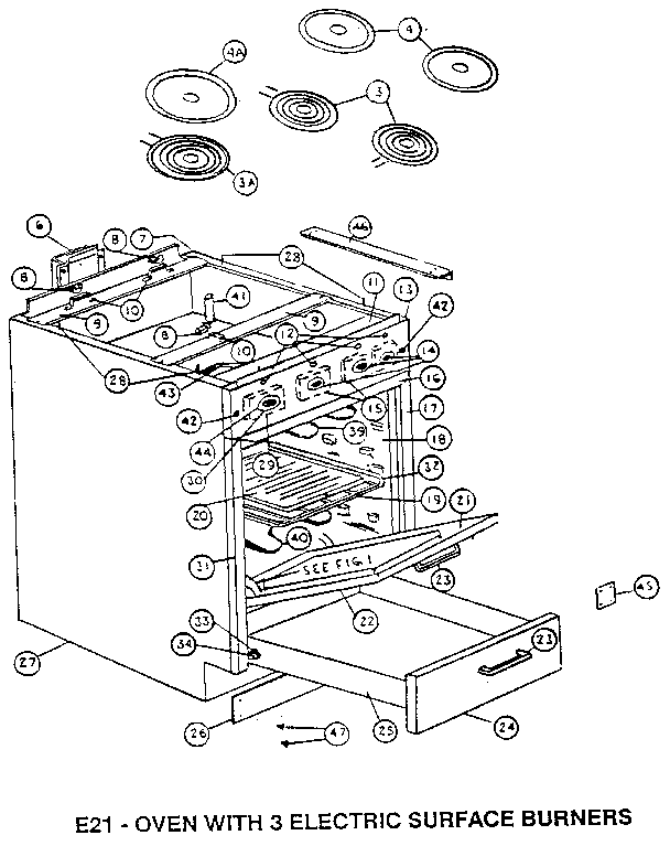 E21-OVEN WITH 3 ELECTRIC SURFACE BURNERS Diagram & Parts