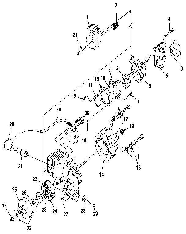 FIGURE 2 Diagram & Parts List for Model XL Homelite-Parts