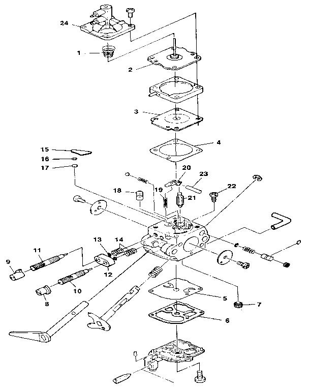 CARBURETOR Diagram & Parts List for Model XL Homelite