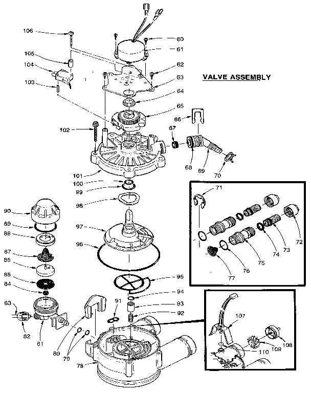 VALVE ASSEMBLY Diagram & Parts List for Model 625348751