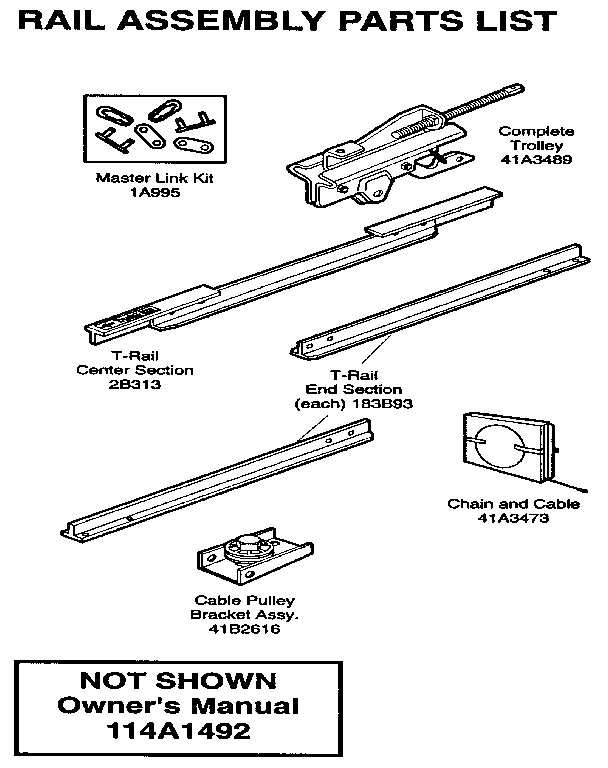RAIL ASSEMBLY Diagram & Parts List for Model 139536151sr