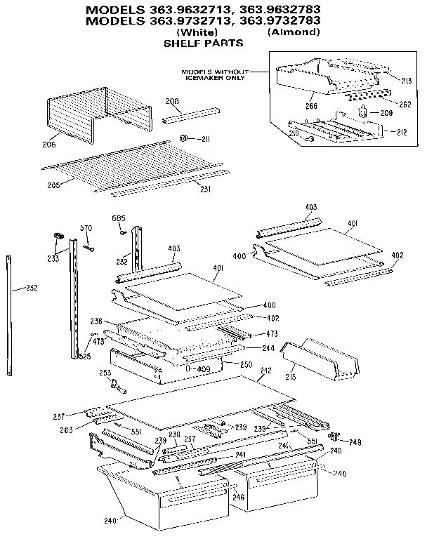 SHELF Diagram & Parts List for Model 3639332783 Kenmore