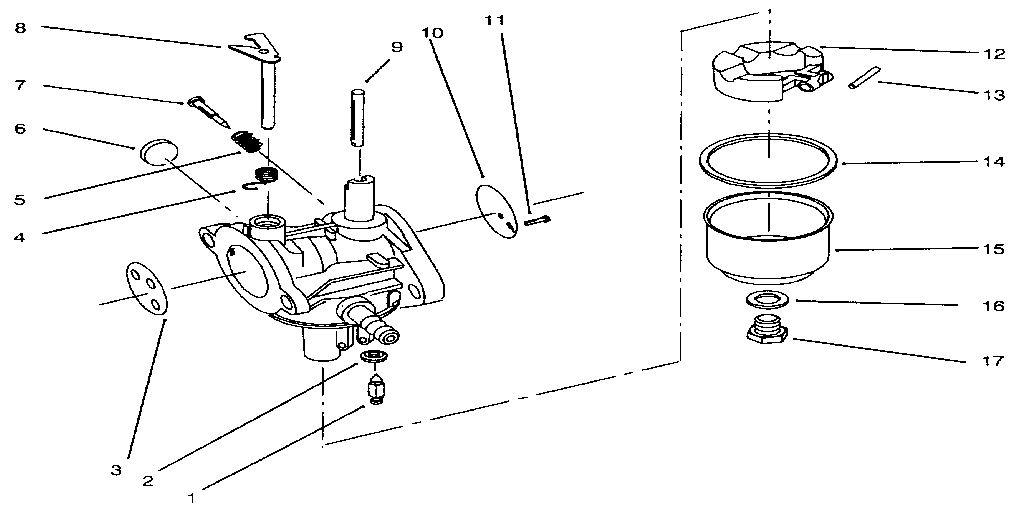 CARBURETOR ASSEMBLY Diagram & Parts List for Model 3936