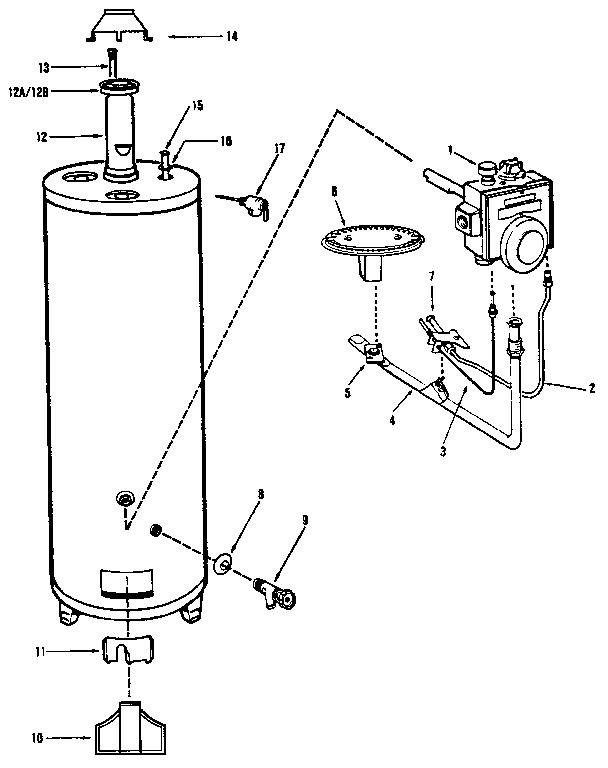 RHEEM 50 GAL. KENMORE POWER MISE V III GAS WATER HEATER