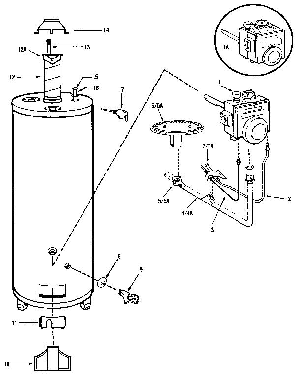 RHEEM 30 GAL. KENMORE POWER MISER V GAS WATER HEATER Parts