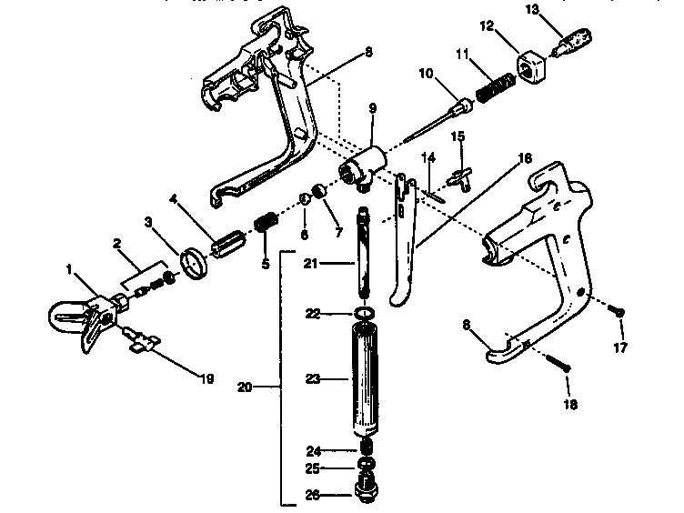 G-05 SPRAY GUN ASSEMBLY Diagram & Parts List for Model 425