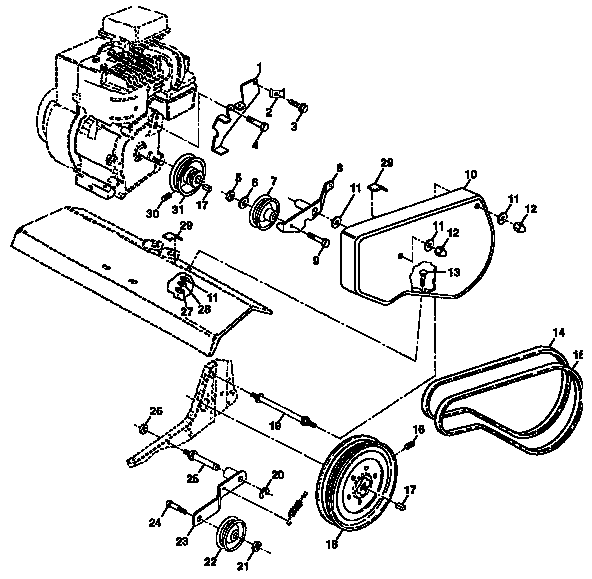 BELT GUARD AND PULLEY ASSEMBLY Diagram & Parts List for